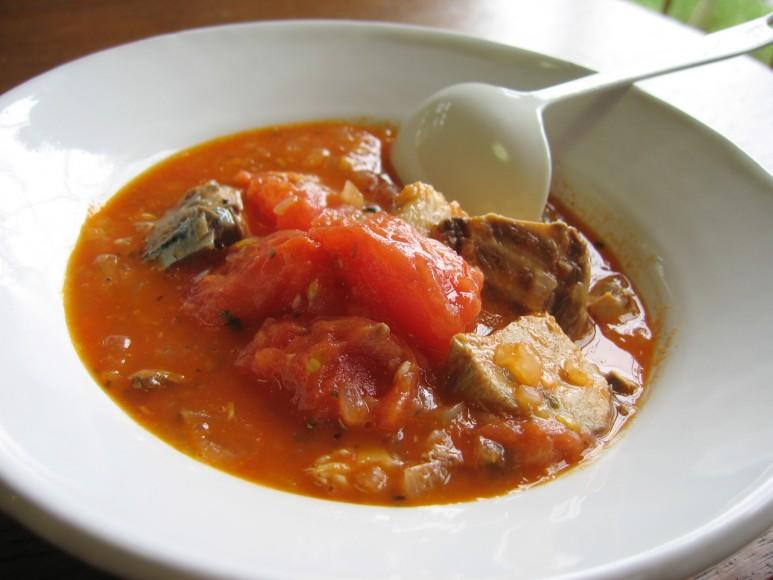 トマトとさば缶のスープ煮
